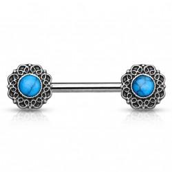 Piercing téton 14mm motif tribal vintage bleu Doko TET090