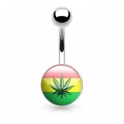Piercing nombril avec le logo feuille de cannabis Waty NOM104