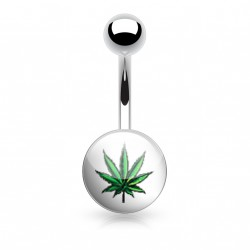 Piercing nombril avec le logo feuille de cannabis vert Gada NOM104