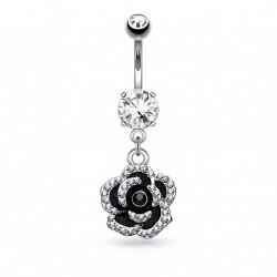 Piercing nombril pendentif avec une fleur noire Roky NOM218