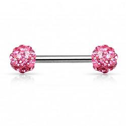 Piercing téton 14mm avec boules en cristal rose Waf TET085