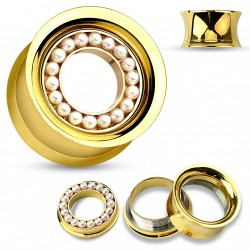 Piercing tunnel 12mm acier doré avec des perles blanche Fopy