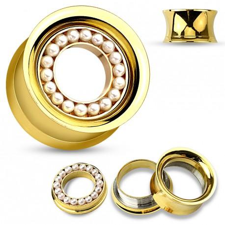 Piercing tunnel 12mm acier doré avec des perles blanche Fopy PLU144