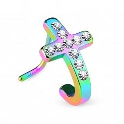 Piercing nez coudé arc en ciel avec une croix Jaf NEZ095