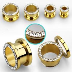 Piercing tunnel doré zirconium blanc 6mm Lur