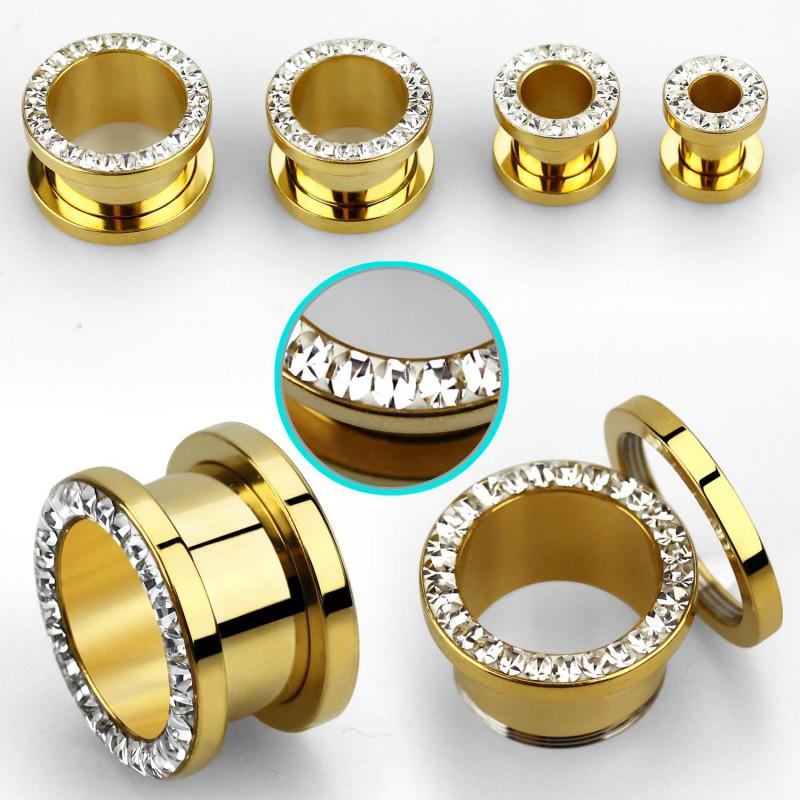 Piercing tunnel doré zirconium blanc 22mm Zy Piercing oreille14,49€