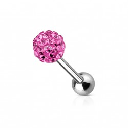 Piercing oreille tragus boule 5mm en crystal rose 5mm Phat TRA021