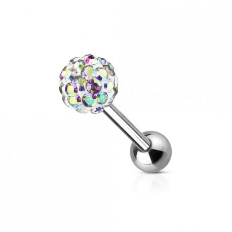 Piercing oreille tragus boule 5mm en crystal aurore boréale TRA021