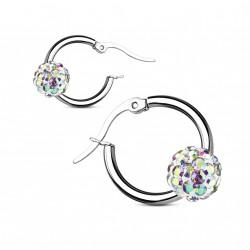 Boucle d'oreille acier et boule cristal aurore boréale Ovaz BOU017