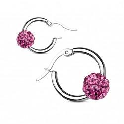 Boucle d'oreille acier et boule en crystal rose Jaty BOU019
