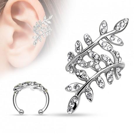 Faux anneau d'oreille branches et feuilles avec crystals blanc Veaz FAU319