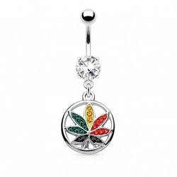 Piercing nombril feuille de cannabis multicolore Caz NOM003
