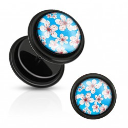 Faux piercing plug fleurs bleu Casa FAU157