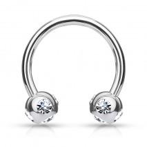 Piercing fer à cheval 10mm x 1,2mm et gems blanc Yana Piercing oreille4,80€