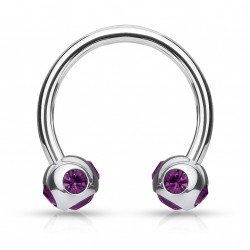 Piercing fer à cheval 10mm gems violet Ati FER002