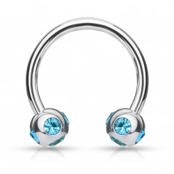 Piercing fer à cheval 10mm gems aqua Arti