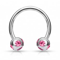 Piercing fer à cheval 10mm gems rose Soru FER002