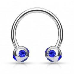 Piercing fer à cheval 10mm gems bleu Soui FER002