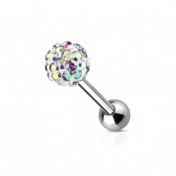 Piercings langue avec boule crystals aurore boréale Bazy LAN011