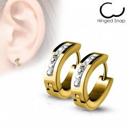 Boucle anneau oreille doré ovale avec crystal Cytu