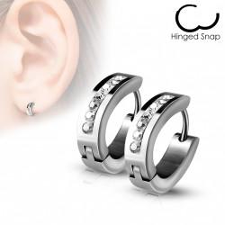 Boucle anneau oreille acier ovale avec crystals Cujka ANN044