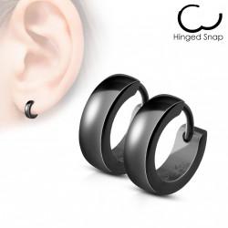Boucle anneau oreille acier noir Chuty ANN047