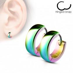 Boucle anneau oreille acier arc en ciel Cojuy ANN047