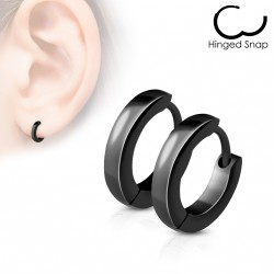 Boucle anneau oreille acier stainless stell noir Cyhu
