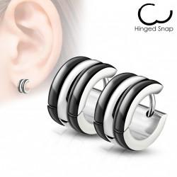 Boucle anneau oreille aier avec des lignes noire Caz ANN014