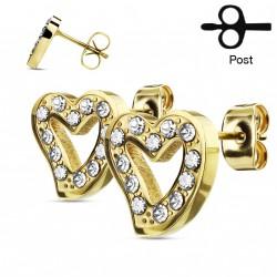 Puces d'oreilles doré avec un coeur et zirconiums blanc Noply PUC044