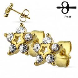 Puces d'oreilles étoiles doré avec des zirconiums blanc Boli PUC011