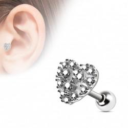 Piercing oreille tragus coeur en zirconium blanc Kazu TRA098