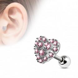 Piercing oreille tragus coeur en zirconium rose Kuky TRA098