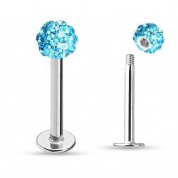 Piercing labret lèvre boule crystals bleu 6mm Nyx LAB081