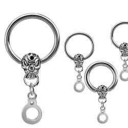 Piercing anneau 12 x 2mm tête de mort gothique Haduy ANN052