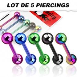 Lot 5 piercings langue acier titanium avec boules Kage LAN152