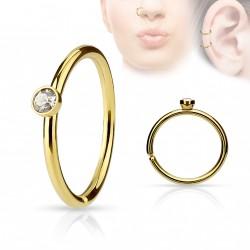 Piercing anneau doré 0,8 X 8mm avec crystal blanc Baz NEZ041