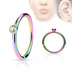 Piercing anneau arc en ciel 0,8 X 8mm avec crystal blanc Lazu NEZ041