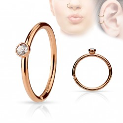 Piercing anneau or rose 0,8 X 8mm avec crystal blanc Lixi NEZ041