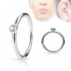 Piercing anneau acier 0,8 X 8mm avec crystal blanc Lomy NEZ097