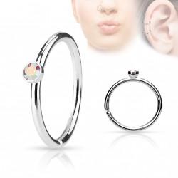 Piercing anneau acier 0,8 X 8mm avec crystal aurore boréale Leny NEZ097