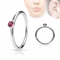 Piercing anneau acier 0,8 X 8mm avec crystal rose Luko NEZ097