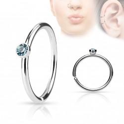 Piercing anneau acier 0,8 X 8mm avec crystal bleu Qaz NEZ097