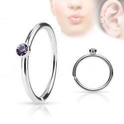Piercing anneau acier 0,8 X 8mm avec crystal tanzanite Liny NEZ097