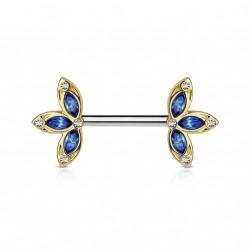 Piercing téton 12mm avec trois pétales de fleur bleu Quog TET007