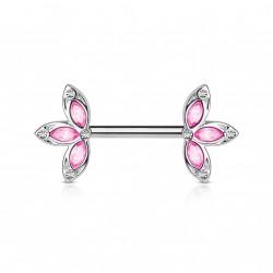 Piercing téton 12mm avec trois pétales de fleur rose Qolu TET007
