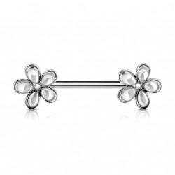 Piercing téton 12mm avec double fleurs blanche Quko TET005