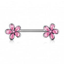 Piercing téton 12mm avec double fleurs rose Wako TET005