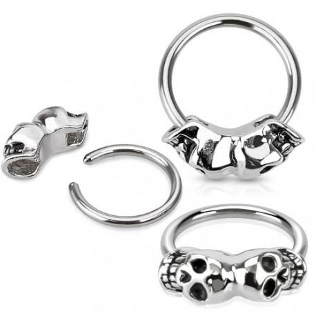 Piercing anneau 12 x 1,2mm tête de mort Koma ANN028