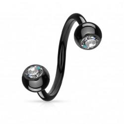 Piercing spirale 10mm avec boules 4mm et crystals Sat Piercing oreille5,25€
